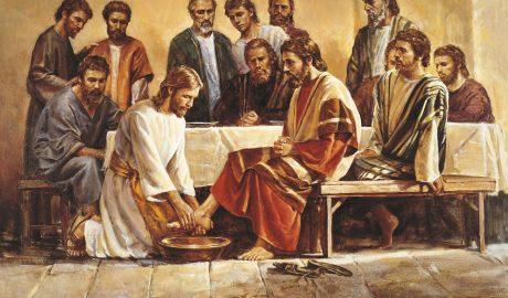Lavement des pieds des apôtres par Jesus Christ